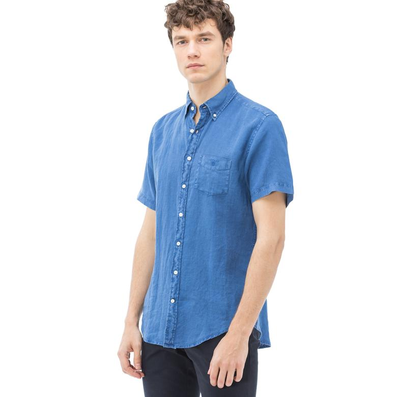 Gant Erkek Mavi Kısa Kollu Regular Fit Gömlek