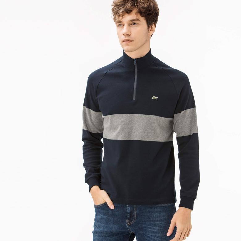 Lacoste Erkek Lacivert Fermuarlı Sweatshirt