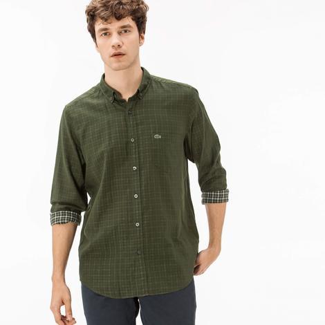 Lacoste Erkek Regular Fit Ters Kumaş Yeşil Gömlek