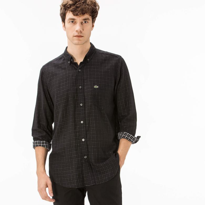 Lacoste Erkek Regular Fit Siyah Ters Kumaş Gömlek