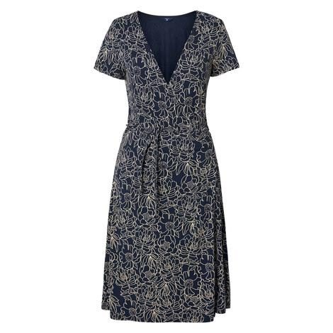 Gant Full Bloom Wrap Dress Kadın Lacivert Elbise