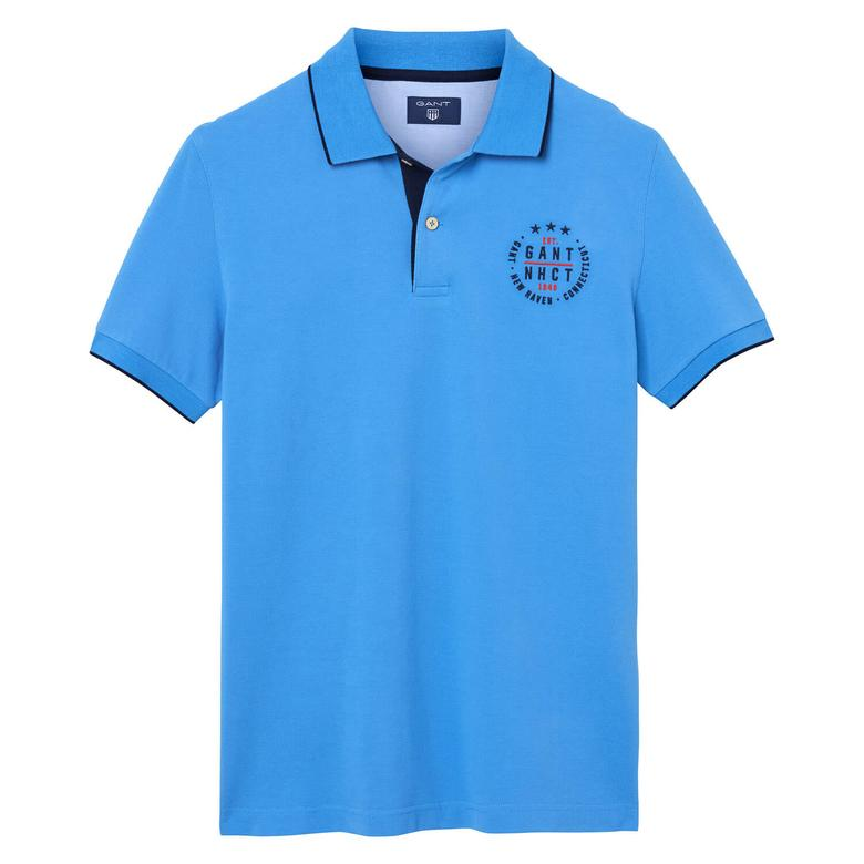 Gant Piqué Rugger Erkek Mavi Regular Fit Polo