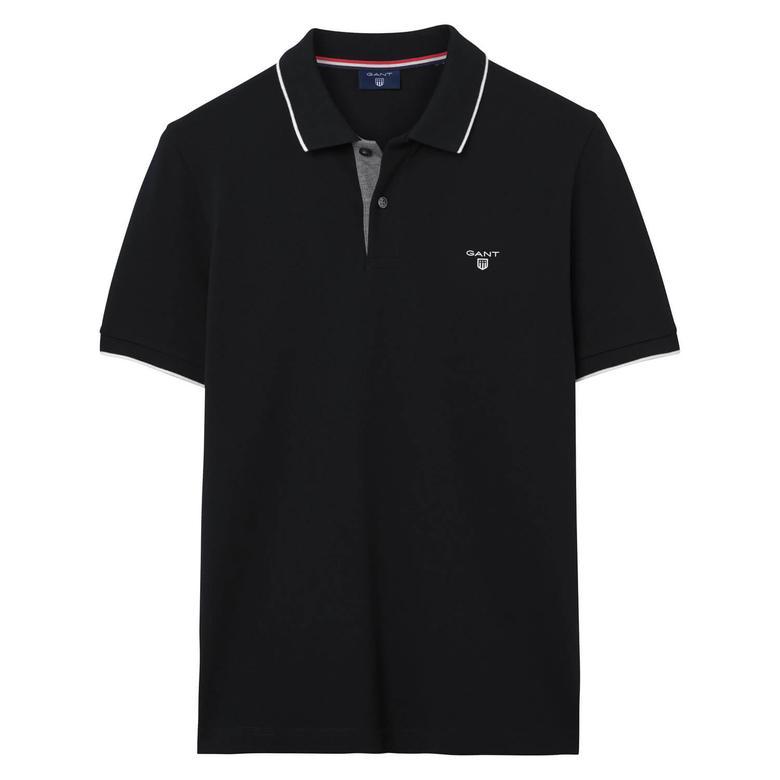 Gant Piqué Rugger Erkek Siyah Regular Fit Polo