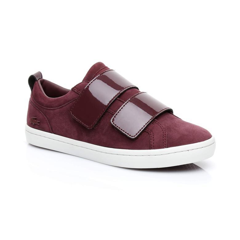 Lacoste Straightset Strap Kadın Bordo Sneaker
