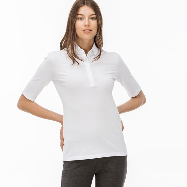 Lacoste Kadın Slim Fit Beyaz Kısa Kollu Polo