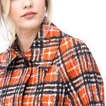 Burberry Kadın Kırmızı Check Desenli Trençkot