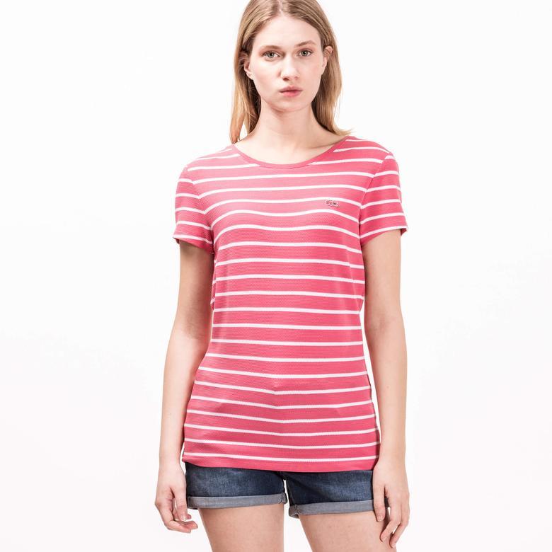 Lacoste Kadın Çizgili Pembe T-Shirt
