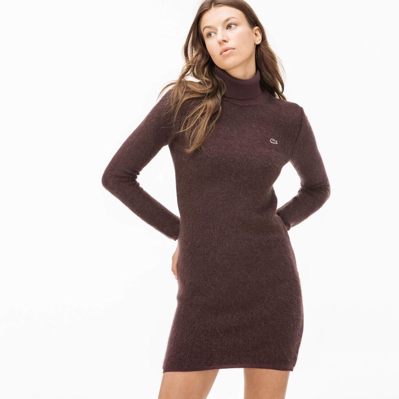 Lacoste Kadın Boğazlı Bordo Mohair Elbise