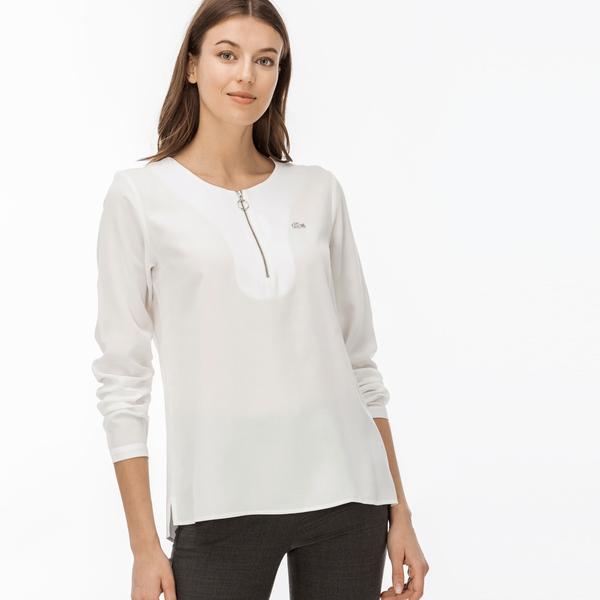 Lacoste Kadın Fermuarlı Beyaz Bluz