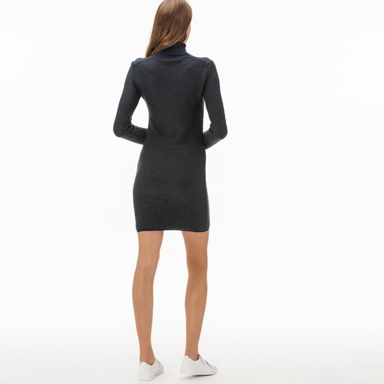 Lacoste Kadın Boğazlı Lacivert Mohair Elbise