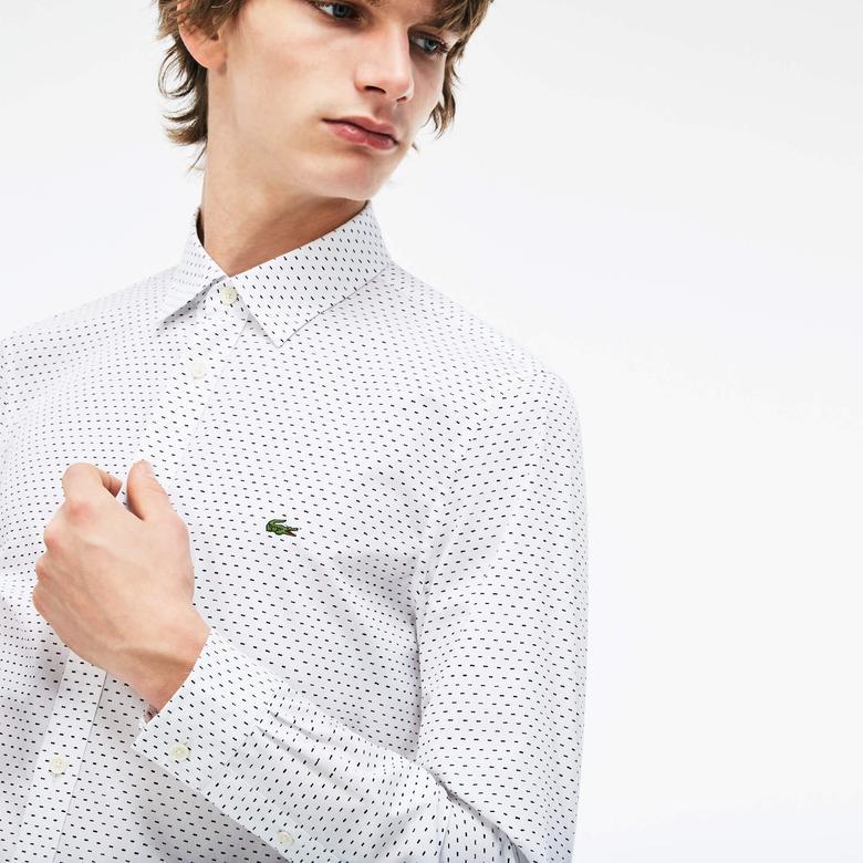 Lacoste Erkek Slim Fit Beyaz-Lacivert Gömlek