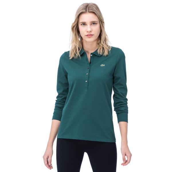 Lacoste Kadın Uzun Kollu Yeşil Polo