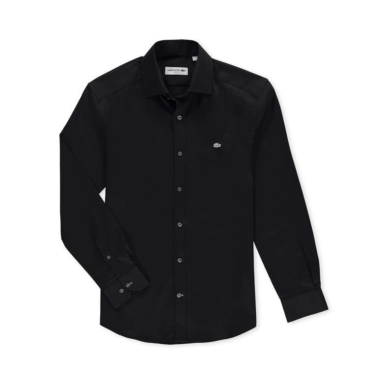 Lacoste Erkek Siyah Slim Fit Uzun Kollu Gömlek