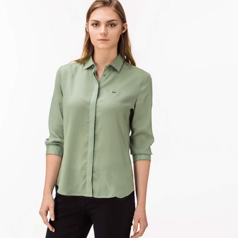 548505774958b Lacoste Kadın Yeşil Uzun Kollu Regular Fit Gömlek