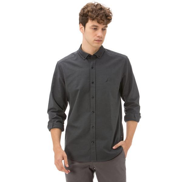Nautica Uzun Kollu Armürlü Erkek Siyah Gömlek