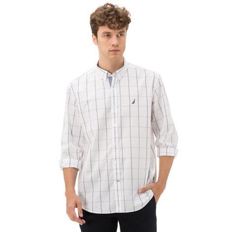 Nautica Classic Fit Beyaz Ekose Erkek Gömlek