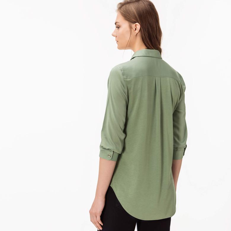 Lacoste Kadın Yeşil Uzun Kollu Regular Fit Gömlek
