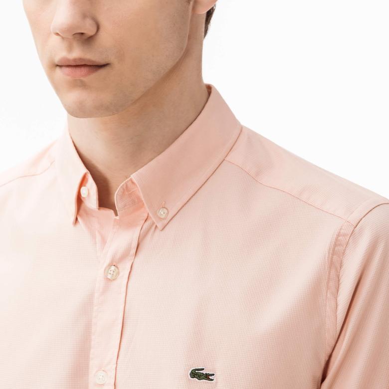 Lacoste Erkek Pembe Slim Fit Uzun Kollu Gömlek