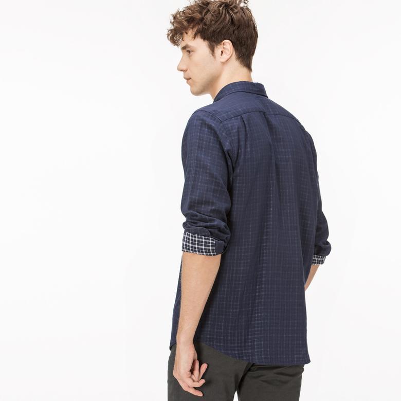 Lacoste Erkek Regular Fit Ters Kumaş Lacivert Gömlek