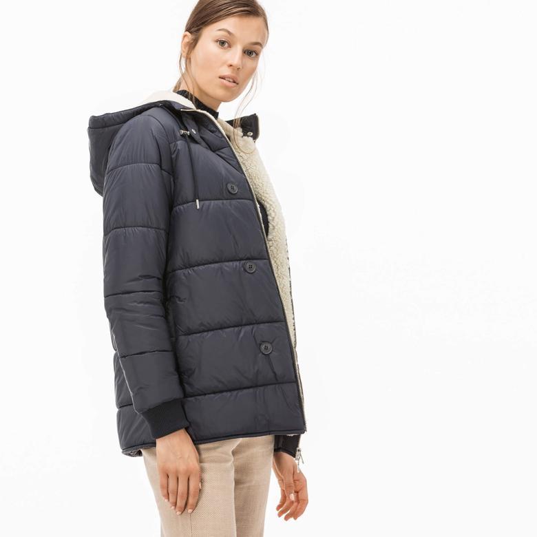 Lacoste Kadın Çıkarılabilir Kapüşonlu Ceketli Lacivert Mont