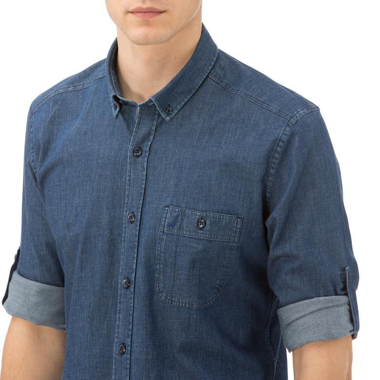 Nautica Slim Fit Erkek Mavi Kot Gömlek
