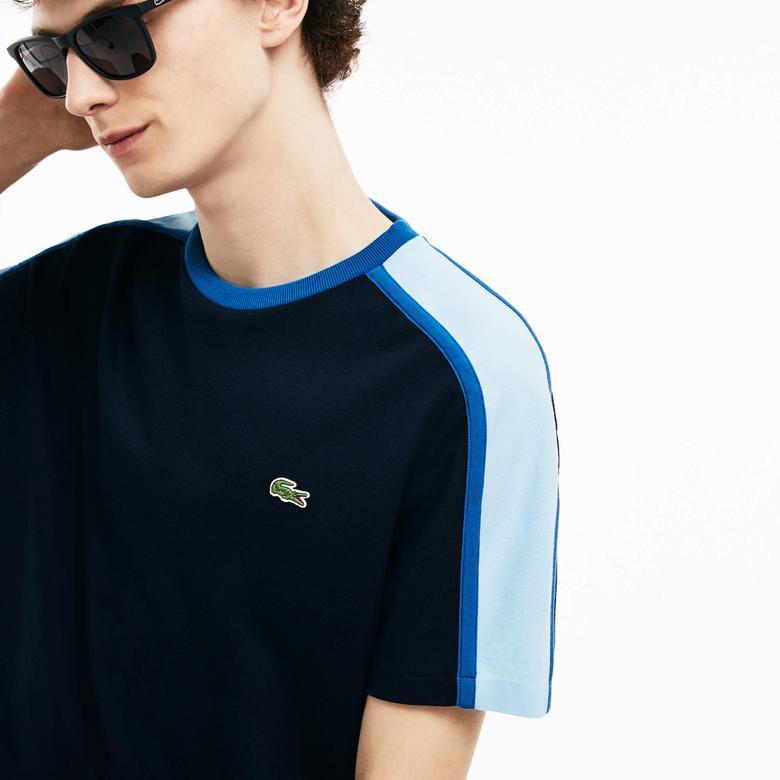 Lacoste Erkek Lacivert - Mavi Renk Bloklu T-Shirt