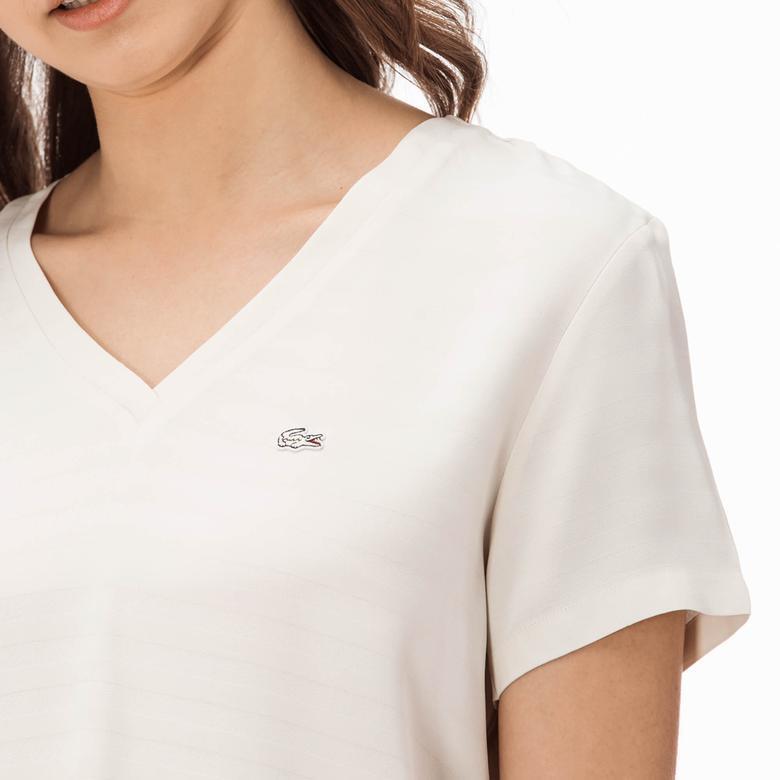 Lacoste Kadın Kısa Kollu Beyaz Bluz