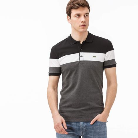 Lacoste Slim Fit Erkek Siyah-Beyaz-Gri Renk Bloklu Polo