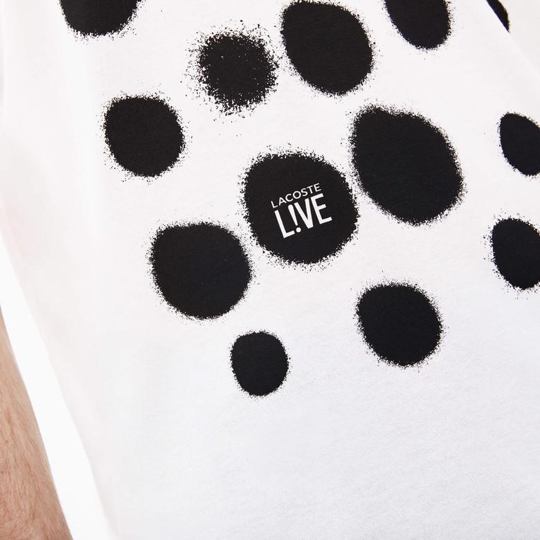 Lacoste Erkek Regular Fit Siyah Desenli Beyaz T-Shirt