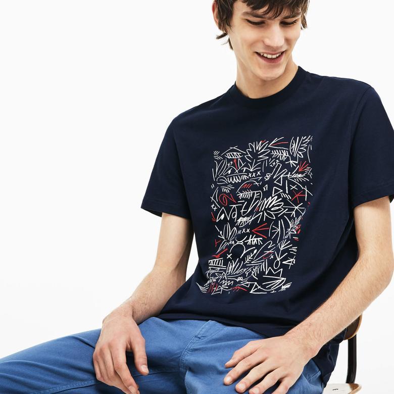 Lacoste Erkek Lacivert Desenli T-Shirt