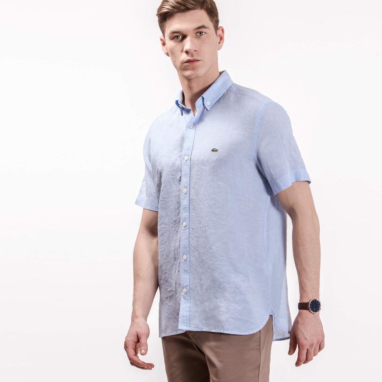 Lacoste Erkek Mavi Keten Gömlek