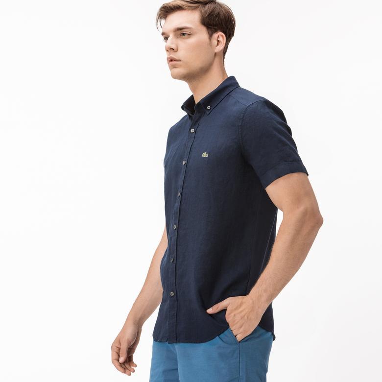 Lacoste Erkek Kısa Kollu Lacivert Slim Fit Gömlek