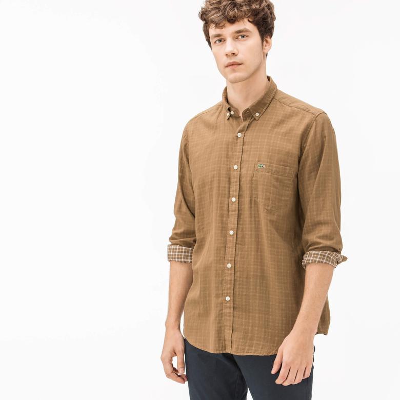 Lacoste Erkek Regular Fit Ters Kumaş Kahverengi Gömlek