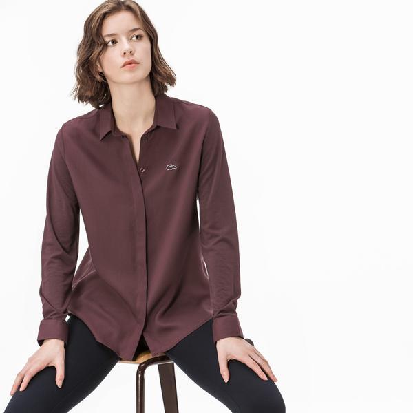 Lacoste Kadın Uzun Kollu Bordo Gömlek