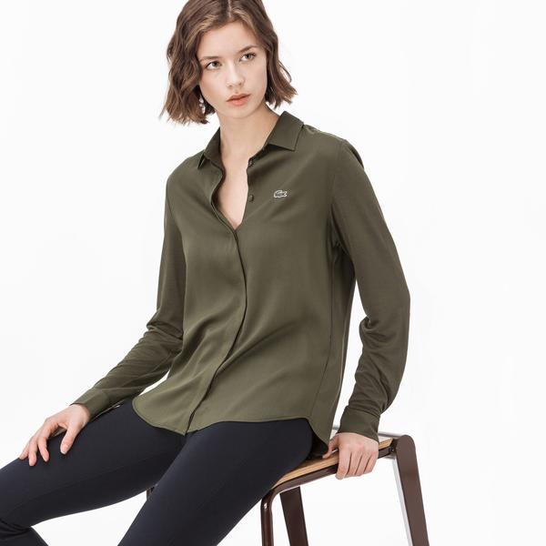 Lacoste Kadın Uzun Kollu Yeşil Gömlek