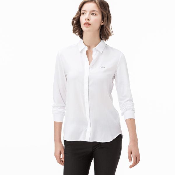 Lacoste Kadın Uzun Kollu Beyaz Gömlek