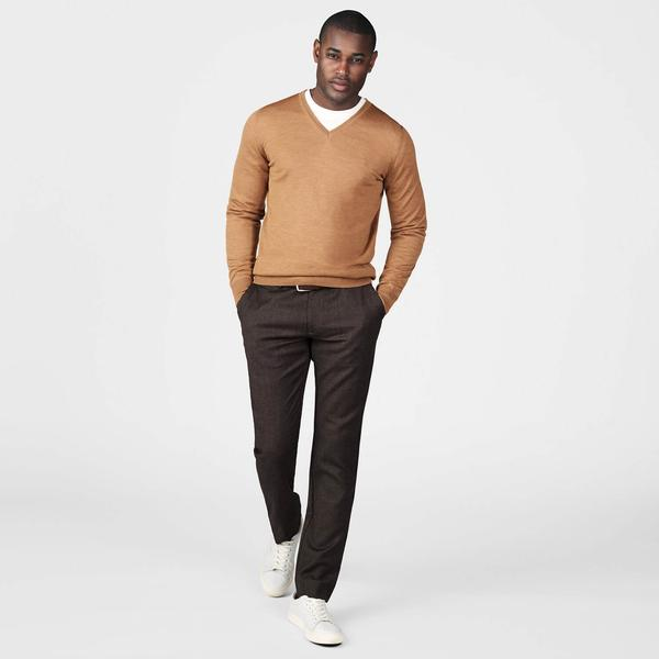 Flannel Chinos Erkek Kahverengi Slim Pantolon