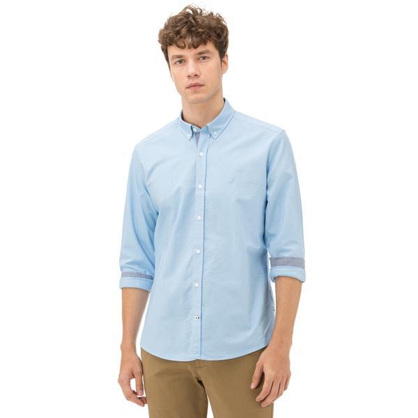 Nautica Uzun Kollu Düz Mavi Erkek Gömlek