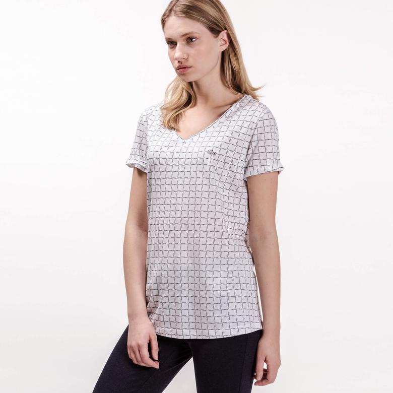Lacoste Kadın Beyaz V Yaka T-Shirt