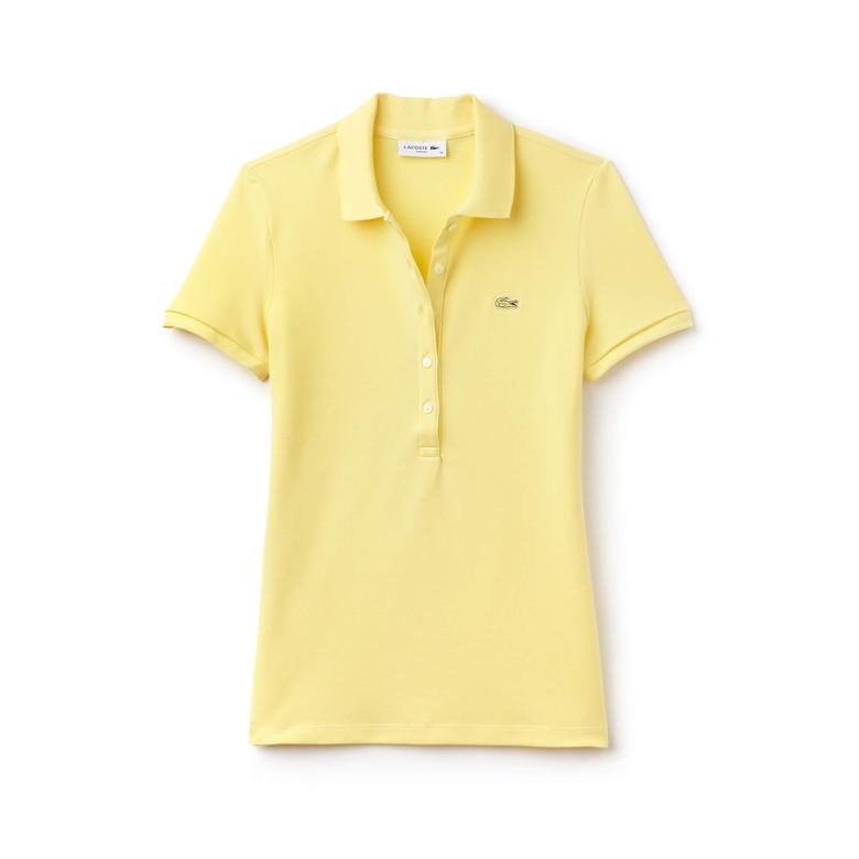 Lacoste Kadın Sarı Slim Fit Polo