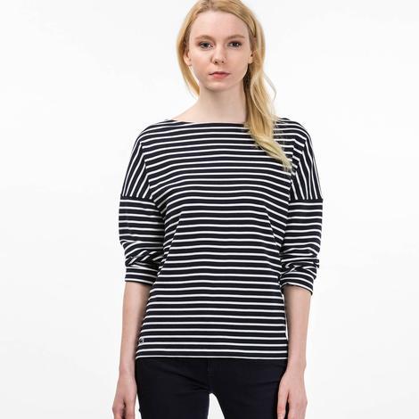 Lacoste Kadın Siyah Çizgili T-Shirt