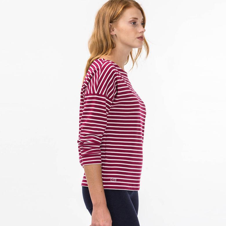 Lacoste Kadın Kırmızı Çizgili T-Shirt