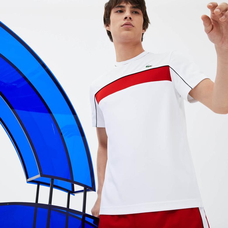 Lacoste Erkek Kırmızı Bloklu Beyaz T-Shirt