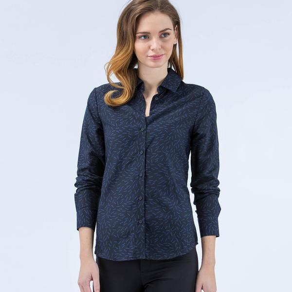Lacoste Kadın Desenli Lacivert Regular Fit Gömlek