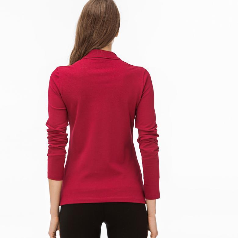 Lacoste Kadın Slim Fit Uzun Kollu Bordo Polo