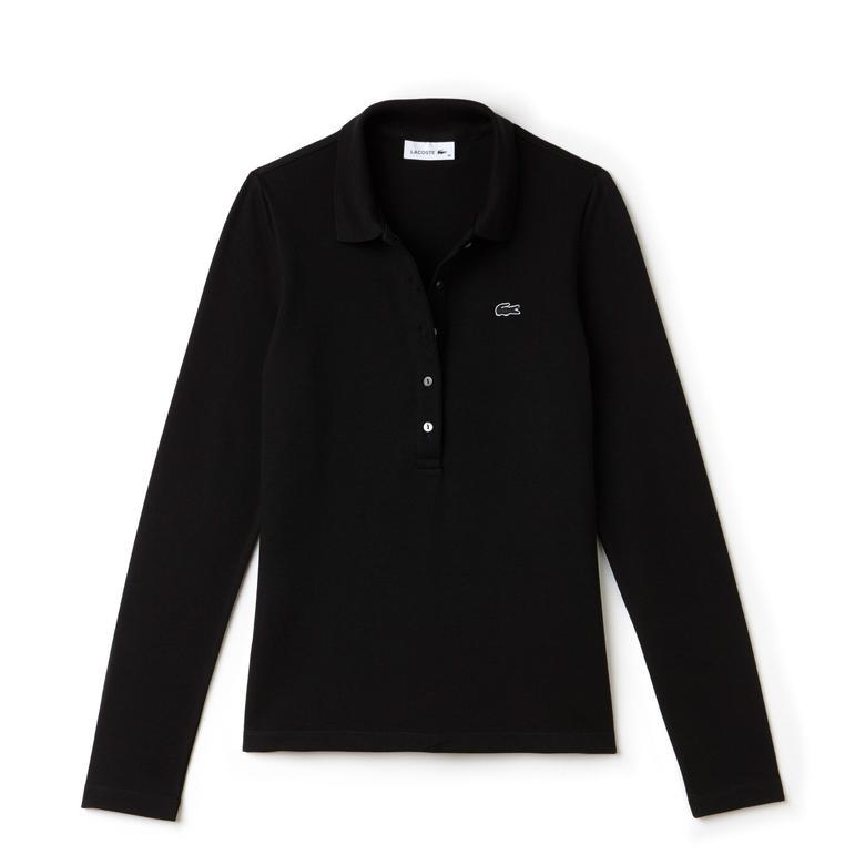 Lacoste Kadın Siyah Regular Fit Uzun Kollu Polo