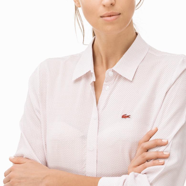 Lacoste Kadın Kırmızı Uzun Kollu Gömlek