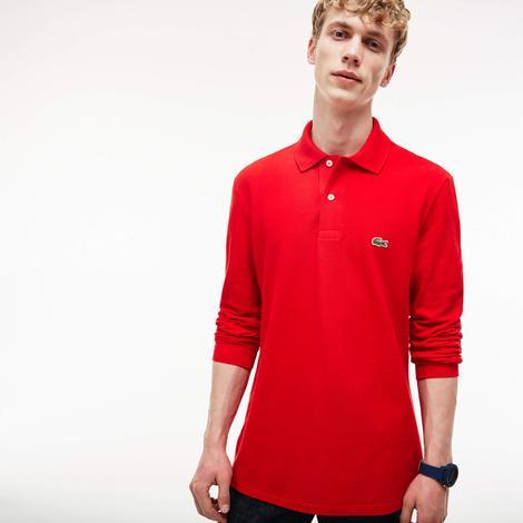 Lacoste Erkek Kırmızı Regular Fit Uzun Kollu Polo