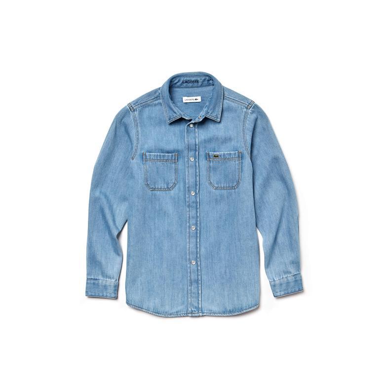 Lacoste Çocuk Denim Mavi Uzun Kollu Gömlek