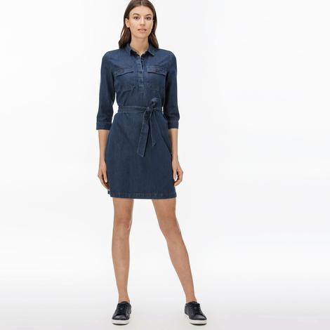 Lacoste Kadın Lacivert Denim Elbise